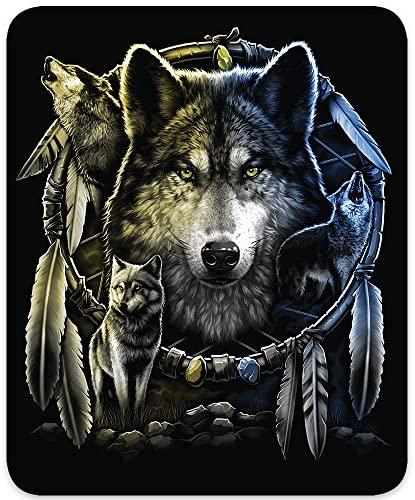 Regal Comfort Wolf Mandela Medium Weight Faux Fur Queen Size Wolf Blanket , Black: Home & Kitchen