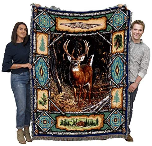 Pure Country Weavers Deer Lodge Blanket Throw Woven from Cotton - Made in The USA (72x54): Sports & Outdoors