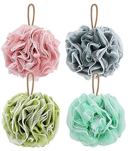 Shower Loofah Bath Sponge, Qilebi Natural Loofahs Body Scrubber Ball for Women Men Kids, Exfoliating Bathing Shower Sponge Large Pack of 4 (70g/pcs): Health & Personal Care