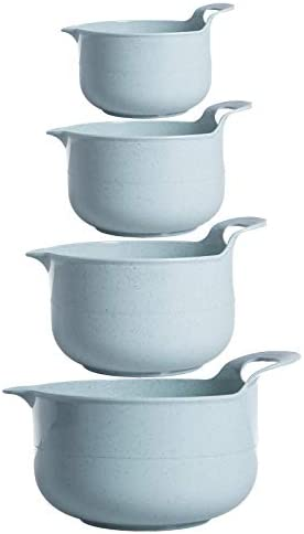 Cook with Color Mixing Bowls - 4 Piece Nesting Plastic Mixing Bowl Set with Pour Spouts and Handles (Mint): Kitchen & Dining