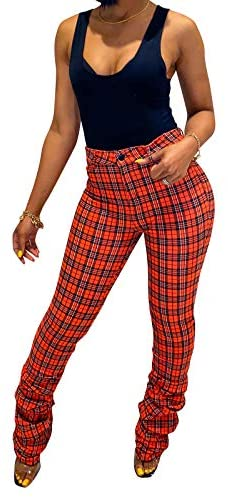 Halfword Casual Drawstring Flare Pants for Women Stacked Leggings Solid Color Yoga Sport Bodycon Long Sweatpants Trousers at Women's Clothing store