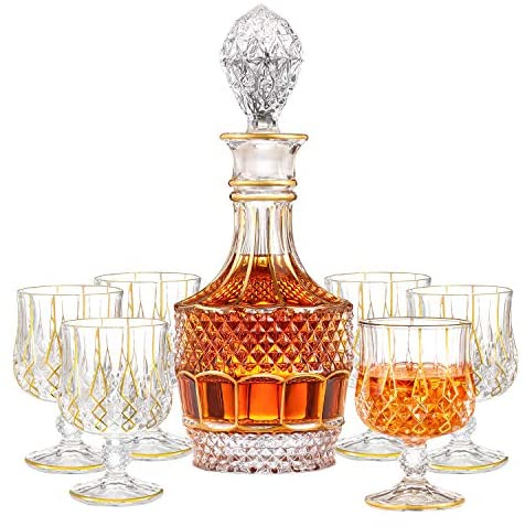 Saladays 7-Piece Whiskey Decanter Set, Gold Trim Whiskey Decanter with 6 Whiskey Glasses, Premium Quality Crystal Decanter Set for Liquor Scotch Bourbon(Ornate Decanter Set): Liquor Decanters