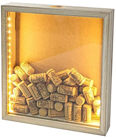 GiveU Wine Cork & Beer Cap Holder Shadow Box Wall Mounted or Free Standing with Lights Shadow Box Display Case Showcase as a Memory Gift 11x12''