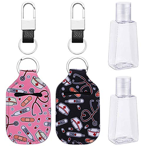 Empty Travel Size Bottle and Keychain Holder, Lezero Portable Travel Bottles and Keychain Carriers for Couples, 30ml Flip Cap Reusable Bottles for Soap, Lotion, Shower Gel and Liquids : Beauty