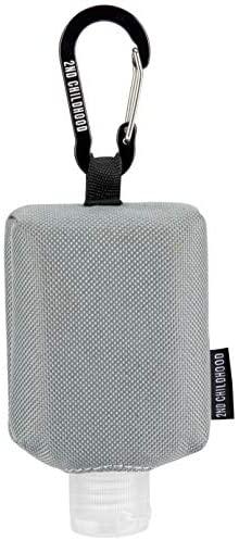 Travel Size Bottle Case, Hand Sanitizer Holder Carrier Bag - Portable Mini Waist Bag for Liquid Storage - Clip On Belt Loop, Backpack and Purse - Includes Empty Flip Cap 2 oz. Reusable Bottle (Grey)