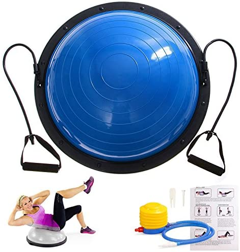 "Hihone 23"" Half Ball Balance Trainer, Blue Yoga Ball Exercise Balance Stability Trainer, with Resistance Bands Pump for Home Gym Core Training, Fitness Strength Exercise Workout: Sports & Outdoors"