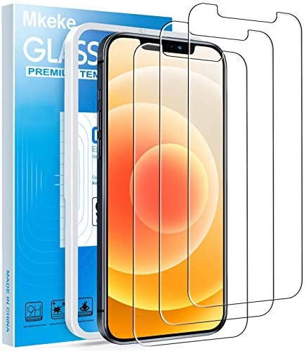 Mkeke Compatible with iPhone 12 Screen Protector, Tempered Glass Screen Protector for iphone 12 Pro 6.1 inch [3-Pack]