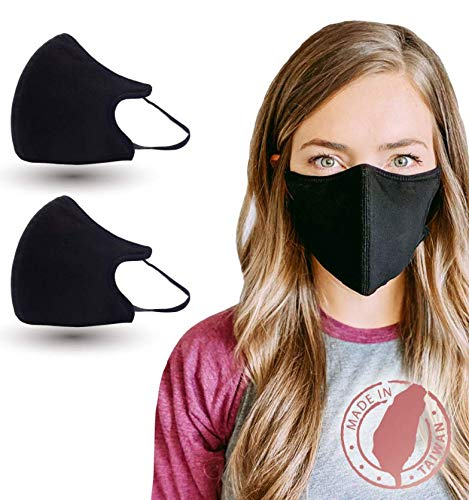 Copper Ion Infused 6 Layer Mask 2-pack (Black, M/L) - Comfortable Protective Face Cover, Re-usable, Washable, Adjustable Ear Loop, Fluid Resistance, Made in Taiwan, Designed and Distributed in the US: Beauty