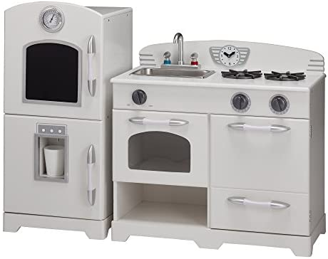 Teamson Kids - Retro Kids Toy Pretend Play Kitchen Playset with Refrigerator. Freezer. Oven and Dishwasher - Off-White (2 Pcs): Toys & Games