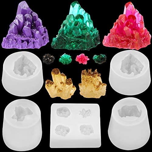 5 Pieces Resin Crystal Molds Silicone Crystal Cluster Molds Small Size Crystal Quartz Stone Resin Molds for Epoxy Resin Tray Decoration Home Ornaments DIY Making, 5 Styles: Arts, Crafts & Sewing