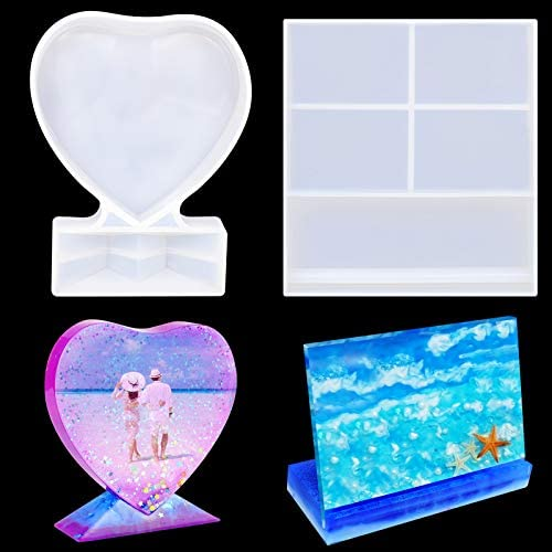 BUSOHA Resin Mold for Photo Frame,Rectangle & Heart Shape Silicone Epoxy Molds for Casting, Personalized Photo Frame Mold for DIY Crafts,Home/Table Decor,Handmade Gifts: Arts, Crafts & Sewing