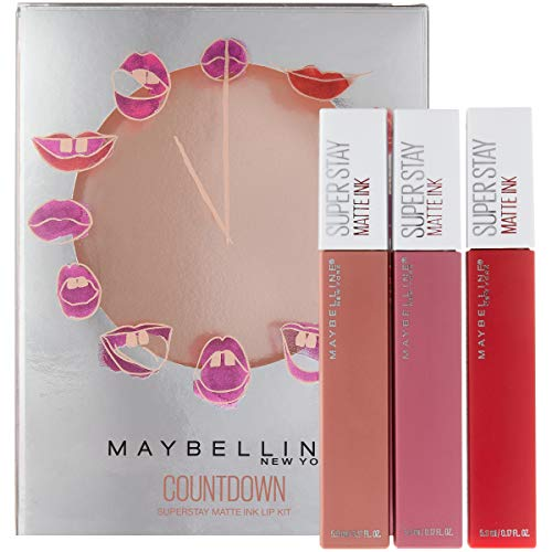 Maybelline New York Superstay Matte Ink Liquid Lipstick Makeup Holiday Kit, Lover/Pioneer/Seductress : Beauty