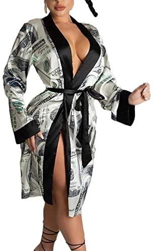 hirigin Women's Dollars Money Print Satin Robes Kimono Bridesmaids Bride Party Short Lingerie Robes Loungewear at Women's Clothing store