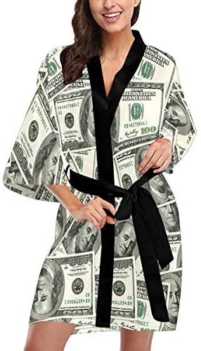 Custom Dollar Bills Women Kimono Robes Beach Cover Up for Parties Wedding (XS-2XL) at Women's Clothing store