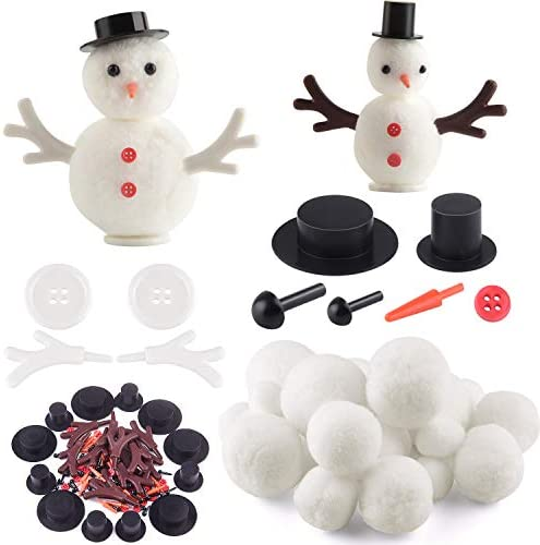 KUUQA 132 Pcs DIY Christmas Snowman Making Kits Includes Mini Top Hats, Snowman's Nose, Plastic Wings for DIY Ornament Crafts Xmas Decoration Christmas Party Supplies