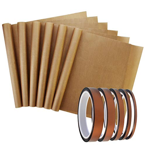 11 Pack Heat Resistant Tape, Heat Transfer Tape Hight Temp Heat Tape No Residue Sublimation Polyimide Tape PI Tape Insulation Tape and Teflon Sheet for Vinyl Heat Press Soldering Circuit Board: Industrial & Scientific