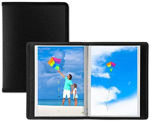 Dunwell Small Photo Album 4x6 - (Black, 2 Pack), 24 Pages Hold 48 Pictures, 4x6 Portfolio Folder for Artwork, Photo Brag Book, Great for Postcards or Picture Storage, Album for 4 x 6 Photos: Office Products