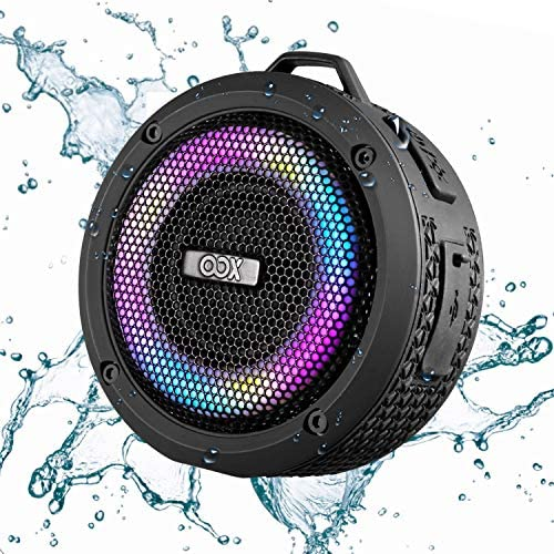 OOX IPX7 Waterproof Bluetooth Speaker, Wireless Shower Speaker with LED Lights, TWS, Loud Bass Sound, Portable Speaker for Home, Pool, Beach, Hiking, Biking Outdoor: Home Audio & Theater