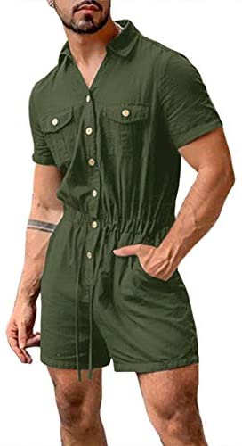 Bbalizko Mens Rompers Jumpsuits Cotton Button Down Short Sleeve One Piece Drawstring Shorts Coverall Tracksuits with Pockets at Men's Clothing store
