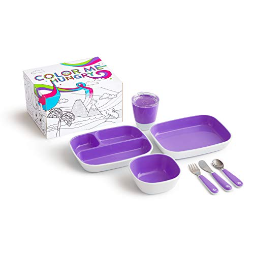 Munchkin Color Me Hungry Splash 7pc Toddler Dining Set – Plate, Bowl, Cup, and Utensils in a Gift Box, Purple : Baby