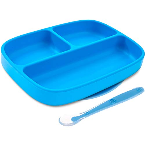 Silikong Suction Plate for Toddlers + Silicone Spoon   BPA Free   Microwave, Dishwasher and Oven Safe   Stay Put Divided Baby Feeding Bowls and Dishes for Kids and Infants (Blue) : Baby