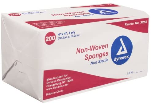 Dynarex 3254 Non-Woven Sponge 4 Ply, 200 Count - Pack of 10: Health & Personal Care