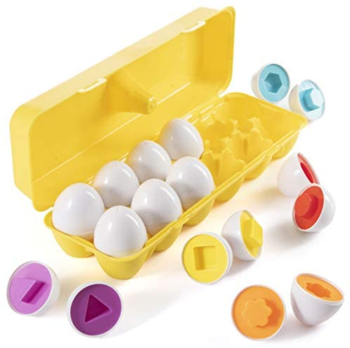 Prextex My First Find and Match Easter Matching Eggs with Yellow Eggs Holder - STEM Toys Educational Toy for Kids and Toddlers to Learn About Shapes and Colors Easter Gift: Toys & Games