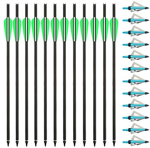 "Tongtu 12pcs Carbon Crossbow Bolts 20"" Archery Arrows for Cross Bow with Replaced 3 Blades Arrowheads for Crossbow Hunting Tips (Green-White) : Sports & Outdoors"