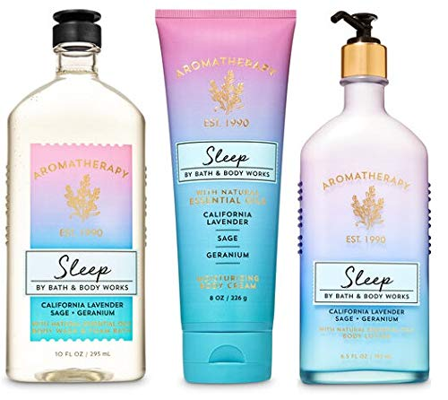 Bath and Body Works Aromatherapy Sleep - LAVENDER SAGE GERANIUM Gift Set - Body Lotion 6.5 oz, Shower Gel Foam Bath 10 oz and Body Cream 8 oz : Beauty