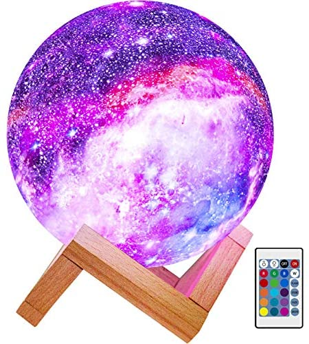 BRIGHTWORLD Moon Lamp Kids Night Light Galaxy Lamp 5.9 inch 16 Colors LED 3D Star Moon Light with Wood Stand, Remote & Touch Control USB Rechargeable Gift for Baby Girls Boys Birthday