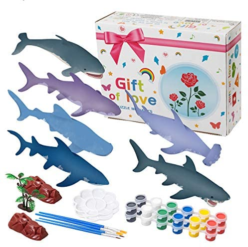 Hairun 40Pcs Shark Painting Kit for Kids Crafts and Arts Set, Paint Your Own Shark Toys Crafts and Art Supplies Party for Boys Girls Age 4-8 Years Old Kid Fun DIY Creative Activity Birthday Gift: Toys & Games