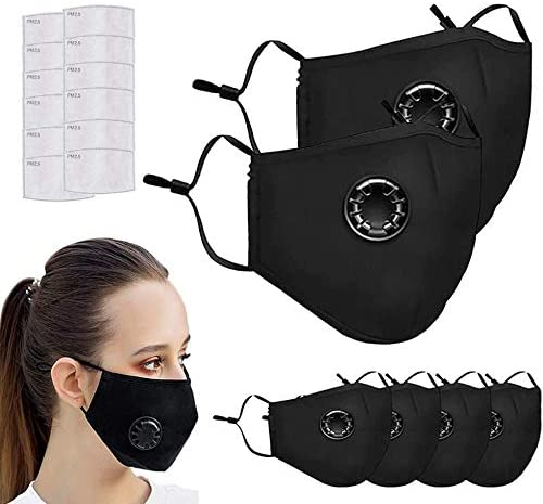 6 PCS Face Protective with 12 Cotton Filter Sheet, Washable Reusable Protective Covering with Breathing valve
