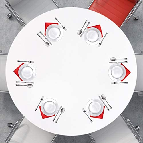 Round Fitted Vinyl Tablecloth, Flannel Backing, Elastic Edge, Waterproof Wipeable Plastic Cover (Milky White, 36-42 Inch Round Tight Fit): Home & Kitchen