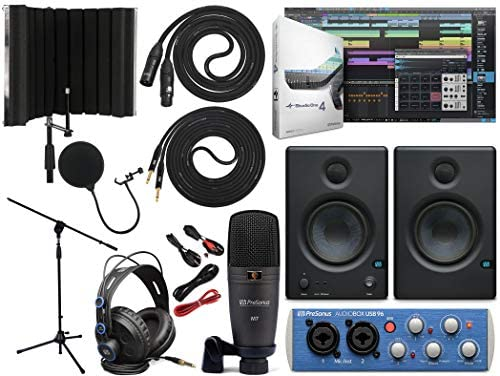 PreSonus AudioBox 96 Audio Interface (May Vary Blue or Black) Full Studio Bundle with Studio One Artist Software Pack with Eris 4.5 Pair Studio Monitors, Instrument Cable, Microphone Isolation Shield: Electronics