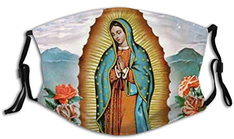 Our Lady Of Guadalupe Virgin Mary Blessed Mothe Face Mask Reusable Adjustable Balaclava Bandana Cloth With 2 Filters For Men And Women Outdoors at Men's Clothing store