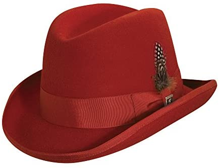 Stacy Adams Men's Wool Homburg Comfort Hat L Red at Men's Clothing store: Fedoras