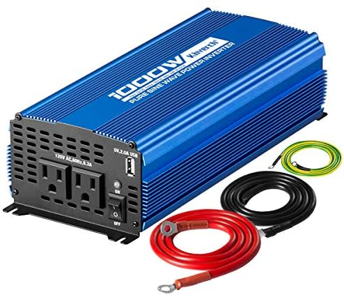 Kinverch 1000W Continuous/2000W Peak Pure Sine Wave Inverter DC 12V to AC 110V Car Power Inverter with Dual AC Outlets & 2A USB Output: Car Electronics