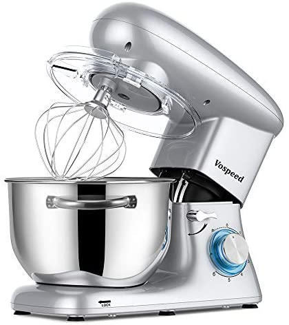 Vospeed Stand Mixer with Dishwasher-Safe Dough Hook, Flat Beater, Wire Whip, 660W 6-Speed Tilt-Head Electric mixer with 6 QT Stainless Steel Bowl Noiseless Less Than 76 (Silver): Kitchen & Dining