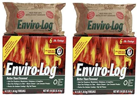 Enviro-Log 6 Pack/3 lb. Firelog Case (2 Pack): Home & Kitchen