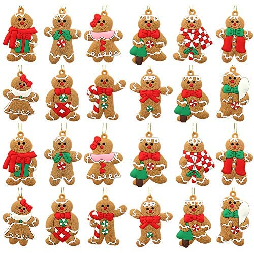 upain 24Pcs Gingerbread Man Ornaments for Christmas Tree Decorations, Traditional Gingerman Doll Hanging Charms Figurine Holiday Decor for Christmas Tree Pendant Decoration: Home & Kitchen