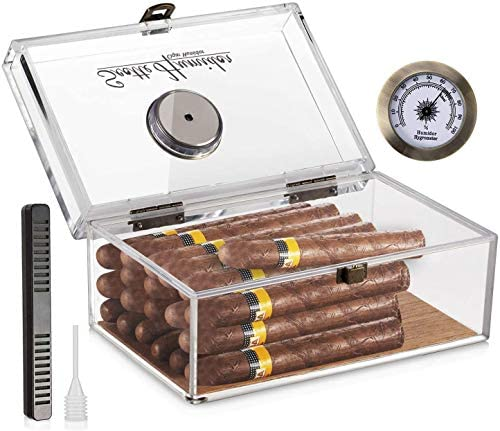 Scotte Acrylic Cigar Humidor Jar/case/Box with Humidifier and Hygrometer,humidor That can Hold About 20 Cigars (Clear-1): Health & Personal Care