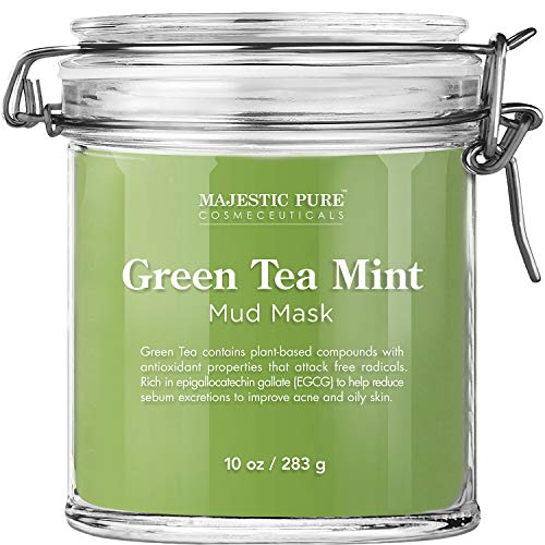 Majestic Pure Green Tea Mint Mud Mask - Exfoliating Facial Face and Skin Mask for Blackhead and Acne - Rich in Antioxidant, Fight Free Radicals, 10 oz : Beauty