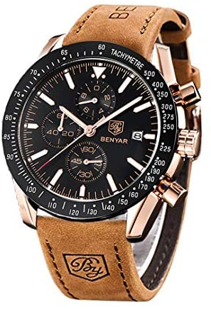 BENYAR Classic Fashion Elegant Chronograph Watch Casual Sport Leather Band Mens Watches 5140L (Brown-Black): Watches