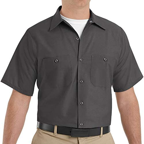 Red Kap Short Sleeve Industrial Solid Work Shirt Charcoal X-Large - 3 Pack: Clothing