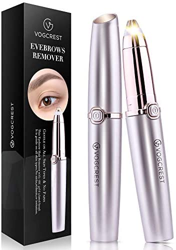 Eyebrow Hair Remover, Vogcrest Painless Eyebrow Trimmer for Women, Portable Eyebrow Hair Removal Eyebrow Razor with Light.: Health & Personal Care