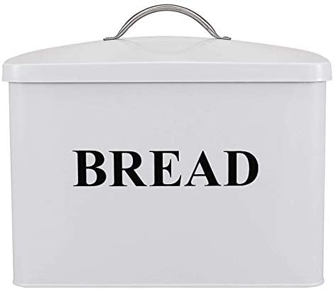 """Extra Large Space Saving Vertical Bread Box - Holds 2 Loaves - Cream Extra Large Breadbox Bread Holder - 13""""(L) x 7""""(W) x 9"""" (H) - White with BREAD Lettering: Kitchen & Dining"""