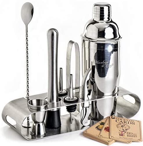 Mixology Bartender Kit: 9-Piece Bar Set Cocktail Shaker Set with Elegant Metal Stand | Perfect Home Bar Tool Set with Martini Shaker For an Awesome Drink Mixing Experience | Exclusive Recipes Bonus: Kitchen & Dining