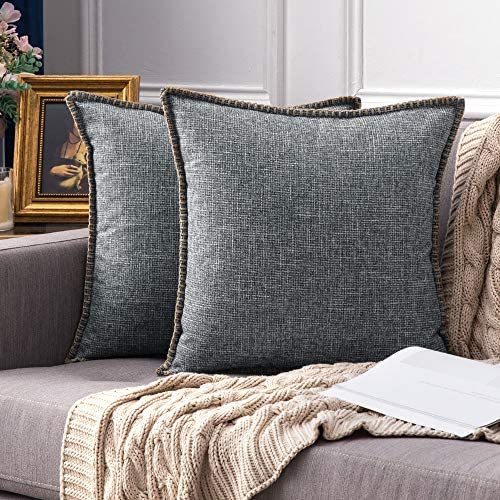 MIULEE Pack of 2 Decorative Throw Pillow Covers Farmhouse Modern Trimmed Cord Linen Burlap Cushion Cases Vintage Decor Pillowcases for Couch Sofa Bedroom 18 x 18 Inch Grey: Home & Kitchen