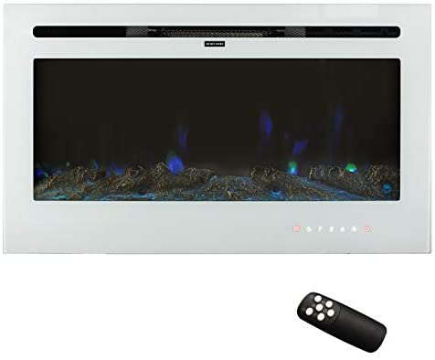"""Puluomis 36"""" Electric Fireplace, Insert Recessed and Wall Mounted Fireplace with Touch Screen Control Panel and Remote Control, Free Standing Fireplace Heater with 12 Flamer Color, 750/1500W, White: Home & Kitchen"""
