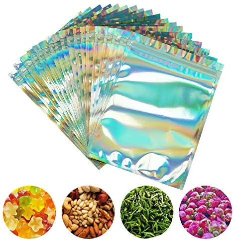 PackItBest 100 Pieces Smell Proof Bags - 6x8 Inches Resealable Mylar Bags Clear Zip Lock Food Candy Storage Bags Holographic Rainbow Color: Kitchen & Dining